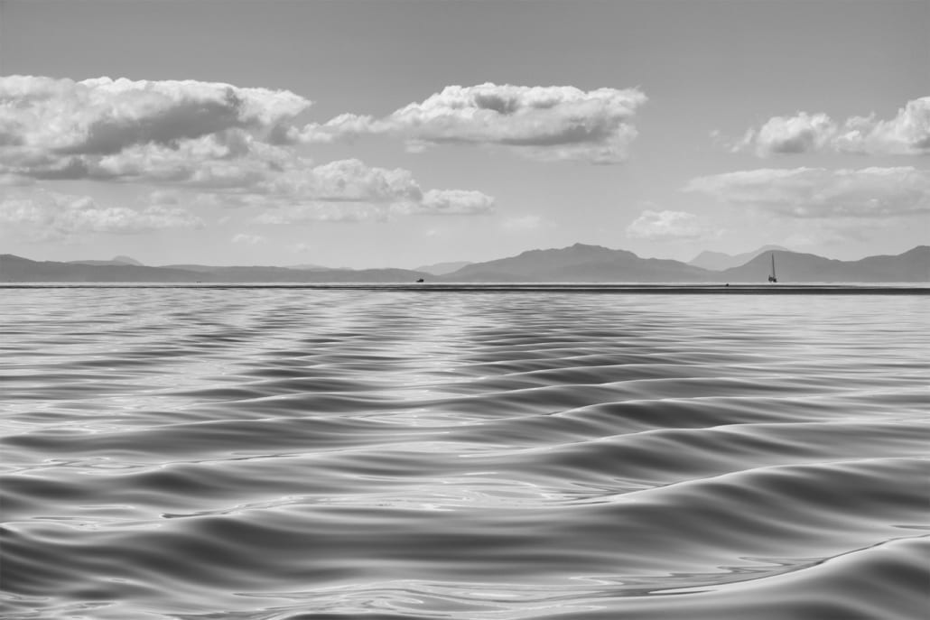 Sea Ripples from Rum black and white